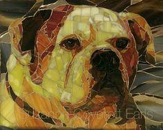 Coucher du soleil de Clifford, 10 * 12, bulldog vitrail sur verre memorial d'animal portrait mosaïque