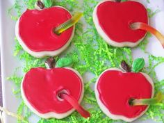 Red Couch Recipes: Apple Cookies for Teacher Appreciation Week or Back To School Party! Back To School Party, School Parties, Graduation Parties, School Fun, School Treats, School Snacks, Apple Cookies, Sugar Cookies, Fall Cookies