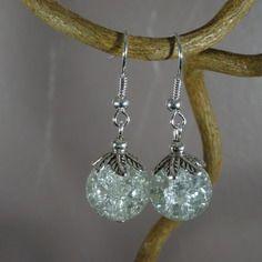 Boucles d'oreilles - perle en verre craquelé - blanc