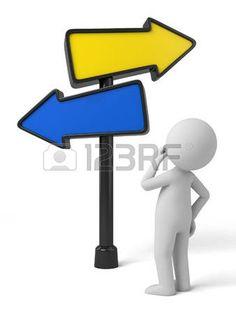 Personaje blanco y Una señal de tráfico con flechas sin completar.