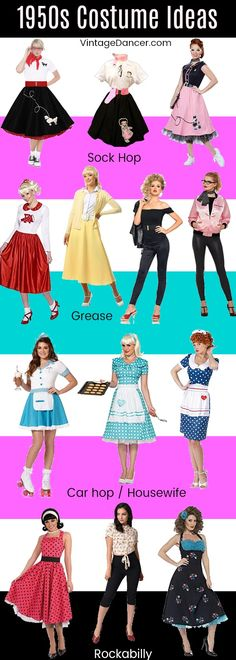 1950s costume ideas: sock hop/poodle skirts, Grease, housewife / car hop, Rockabilly / Pin Up