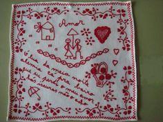 Portuguese traditional red embroidery - Lenço dos namorados.