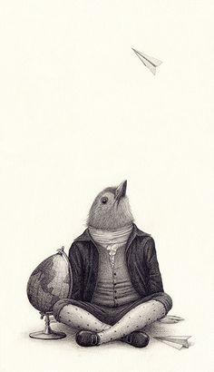 """2011, XXI catálogo de ilustración de la FILIJ con """"Ave de ciencia""""."""