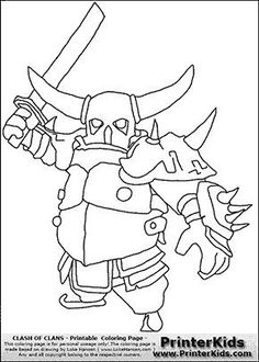 Clash Of Clans  P.E.K.K.A #2  Coloring Page Cartooning 4 Kids, Clash Of Clans, Royal Party, Star Wars Episode Iv, Birthday Board, Barbarian, Coloring Pages, Free Facebook, Sin Gluten