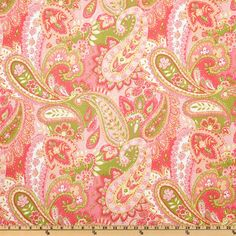 P Kaufmann Gypsy Paisley Watermelon from @fabricdotcom  Screen printed on cotton, this medium weight fabric has a soil and stain repellent finish. Colors include pink, rose pink, lime green, pale yellow and white. Perfect for draperies, curtains, pillows, duvets, totes, aprons and more!