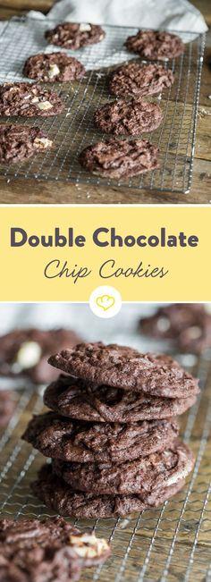 Doppelt schokolaid, doppelt lecker. Und dank Espresso eine herrlich süße Frühstücksleckerei - diese Double Chocoalte Chip Cookies.