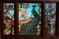 vitrales   Outstanding 3 panel Stained glass window with peacock 47x60 in..jpg