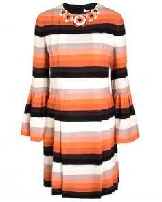 Image of Fendi Striped Cady Short Dress