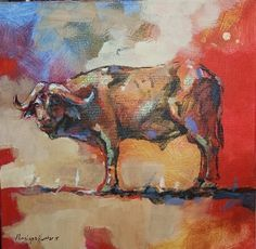 NEW ART ARRIVALS !!! Penelope Hunter 2015 33cm x 33cm buffalo oil on stretched canvas