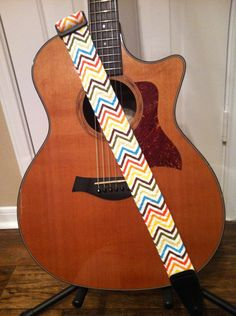 Guitar Strap  Handmade  Colorful Chevron by CraftyCary on Etsy, $25.00