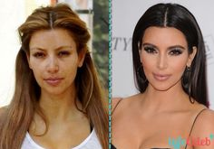Kim Kardashian West and other celebrities without makeup - Best Eye Surgery Actress Without Makeup, Celebs Without Makeup, Kim Kardashian Without Makeup, Makeup Tips, Beauty Makeup, Hair Makeup, Amazing Makeup Transformation, Celebrities Before And After, Hair And Beauty