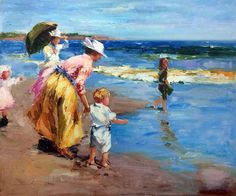 Potthast - At the Beach #6 on overstockArt.com's 2015 Top 10 List For Mother's Day. Hand painted reproductions are available in a variety of sizes at overstockArt.com. #art