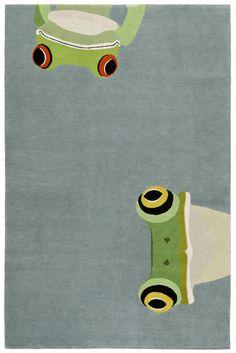 Attenti al coccodrillo. I nuovi tappeti per bambini di The Rug Company. Quattro creature - pavone, coccodrillo, tigre e rana - lavorate a mano con tecniche tradizionali.