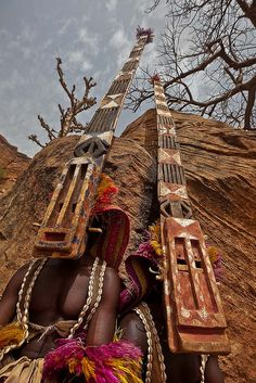 Dogon masked dance ceremony, Tireli, Mali.  Photo by Anthony Pappone