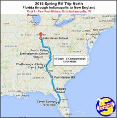 RV Route Map with stopovers. Part I - New Port Richey, Florida to Indianapolis, Indiana. Travel Route, Rv Travel, Best Rv Parks, New Port Richey, Lake Park, Park Photos, Florida Vacation, Florida Georgia, Kentucky