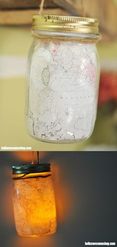 Grab some map printouts and your Mod Podge, and make the cutest mason jar craft ever - a fun map lantern!