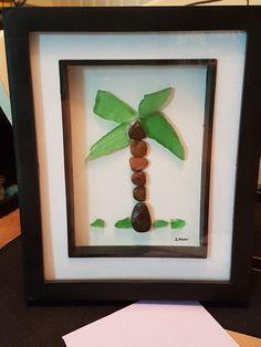 Relax palm tree beach glass art