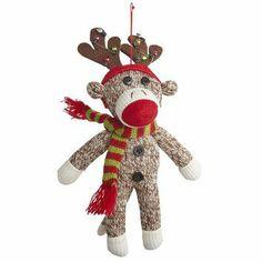 Reindeer Sock Monkey Ornament