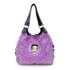 Betty Boop Lavender Metal Logo Rhinestone Purple L Satchel Bag Handbag Purse - http://handbagscouture.net/brands/betty-boop/betty-boop-lavender-metal-logo-rhinestone-purple-l-satchel-bag-handbag-purse/
