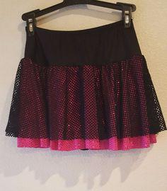A Wish Come True Girls Size MA Pink Black Sparkle Stretch Dance Costume Skort #AWishComeTrue