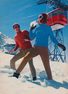 "vintage ski sweater knitting patten from the 1971 Spinnerin Yarn ""On The Slopes"" Book Alpine Skiing, Snow Skiing, Ski Ski, Nordic Skiing, Bergen, Apres Ski Party, Vintage Ski Posters, Ski Bunnies, Slim Aarons"