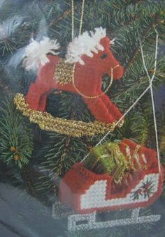 Plastic Canvas Christmas Sleigh Rocking Horse Ornaments Kit New Nip Joan Ray
