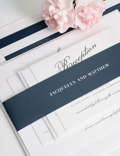 Navy Blue Wedding Invitations with Striped Envelope Liner - Stunning!