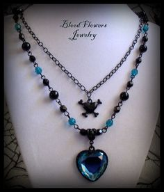 TAINTED LOVE Black and Teal Gothic Noir Skull by BloodFlowers, $33.00