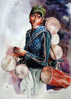 One of my pleasant surprises was to find Rajkumar Sthabathy's watercolor art works on internet. Rajkumar Sthabathy's is an Indian Artist wh. Watercolor Artists, Watercolor Portraits, Watercolor Paintings, Watercolours, Painting Portraits, Indian Folk Art, Indian Artist, Art And Illustration, Architecture Drawing Sketchbooks