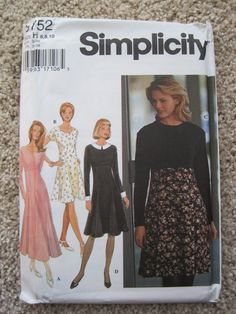 Dress has flared, six gore skirt stitched to bodice at raised waistline seam and back zipper. A and B have scoop neckline. C and D have round neckline. A, C and D have long sleeves. B has cap sleeves. C has contrast bodice and sleeves which can be knit or woven fabric. D has contrast collar and cuffs. A is mid-calf length. B C and D are knee length.    Above pictures are of the original pattern, not a PDF or a reproduction. Pictures shown are the actual pattern you will receive…