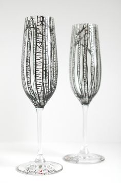 23f0b0fa069 Personalized Birch Tree Toasting Flutes - Set of 2 Hand Painted Wedding  Champagne Flutes
