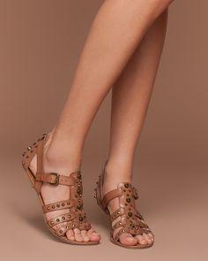 Studded Brown Sandals #flats