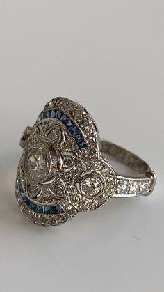 Art Deco Jewelry, Unique Jewelry, Art Deco Diamond, Platinum Ring, 2 Carat, Diamond Rings, Sapphire, Diamonds, Bling