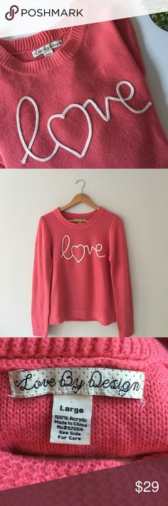 Nordstrom Love by Design Sweater Nordstrom's vibrant pink knit sweater with the 'love' graphic in white cursive. Created by Live By Design. Size Large. EUC. Nordstrom Sweaters Crew & Scoop Necks