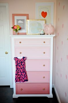 DIY Pink Ombre Dresser - perfection in a girls room!