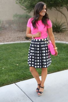 Navy Checked Skirt, Neon Pink, Crossbody Bag, Wedge Sandals, Navy, Rebecca Minkoff, J.Crew, Banana Republic 16