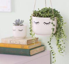 Sass and Belle Blumentopf-Set Eyes Wide Shut aus Keramik Small Succulents, Succulents Garden, Succulent Planters, Succulent Containers, Container Flowers, Container Plants, Garden Planters, Hanging Planters, Hanging Baskets