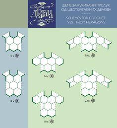 Positioning diagram to make a cochet motif top --- Todo para Crear ... : todo par crear con cuadrados en crochet moldes 1y 2 ----#3