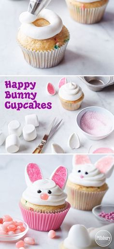 Happy Bunny Cupcakes See how easy it is to make these super cute Easter treats! With marshmallows, jellybeans and pink decorator sugar, you can turn plain white cupcakes into Happy Bunny Cupcakes for a last minute Easter dessert! Easter Dinner, Easter Brunch, Easter Party, Bunny Party, Holiday Desserts, Holiday Baking, Holiday Treats, Easter Cupcakes, White Cupcakes