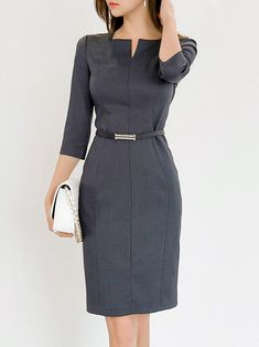 Sweet Heart Plain Bodycon Dress - Love the business office attire. Probably because I always wear the same thing from work! Source by svenjakueppers - Stylish Work Outfits, Office Outfits, Office Attire, Mode Outfits, Fashion Outfits, Dress Fashion, Fashion Sandals, Fashion Rings, Casual Dresses