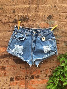 "Vintage LEVIS Cutoff Denim Jean shorts High Waisted shorts Size 26"" on Etsy, $34.00"