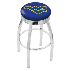 "Use this Exclusive coupon code: PINFIVE to receive an additional 5% off the West Virginia University 2½"" Ribbed Ring Bar Stool at SportsFansPlus.com"