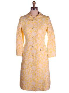 Vintage Ladies Yellow/White Brocade Coat & Dress Bergdorf Goodman 1970s 36-30-35