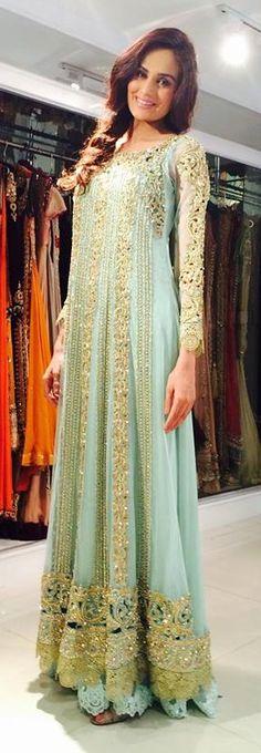 mint green designer anarkali with gold embroidery. #GreenAnarkali #DesignerAnarkali #Anarkali