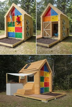 Play house for kids filled with tons of little features- LOVE it! {i'd fill that box under the climbing wall with sand. would be a great sandbox!!}