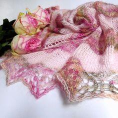 Pink rose shawl