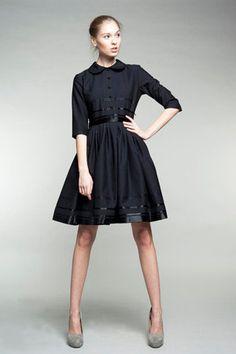Black Shirtwaist woolen dress by mrspomeranz on etsy. <3 the details