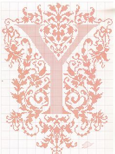 "cross stitch alphabet in 2 colors- very ornate monogram 26 single letters -- ""Y"" #25"