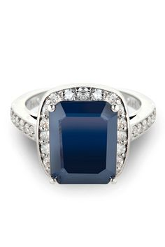 Bijoux Majesty Sizeable 5.15 ct Sapphire & Diamond Ring In 14k White Gold