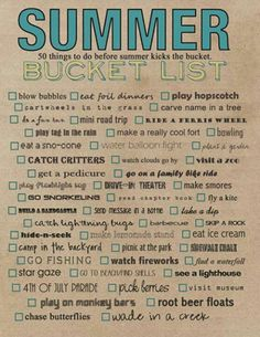 Summer Bucket List- this list is fantastic. All of these things sound so fun, a… Summer Bucket List- this list is fantastic. All of these things sound so fun, and really, it could be for young-at-heart adults too! Summer Of Love, Summer Fun, Summer Time, Summer Ideas, Summer 2014, Fun Ideas, Summer Goals, Free Summer, Summer Crafts